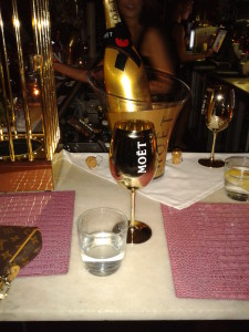 Moet golden glass